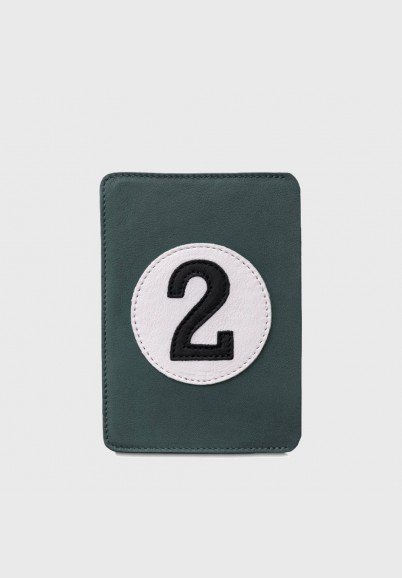 Sporty looking leather passport holder with number 2