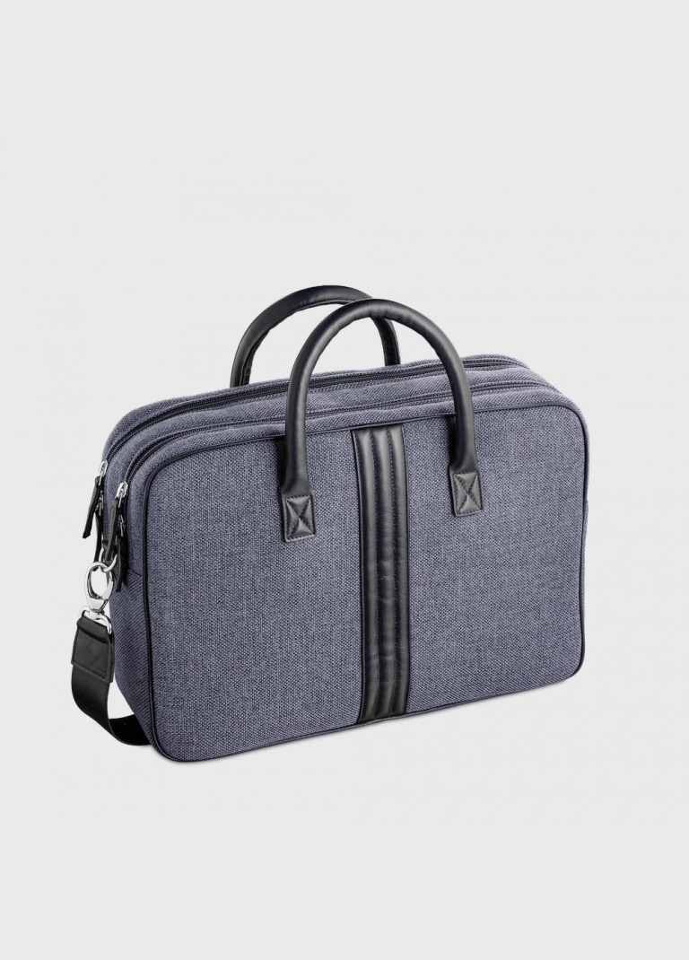 Enzo blue men's canvas and leather desk briefcase