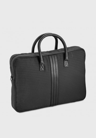 17 inches computer bag Romeo in black fabric and leather