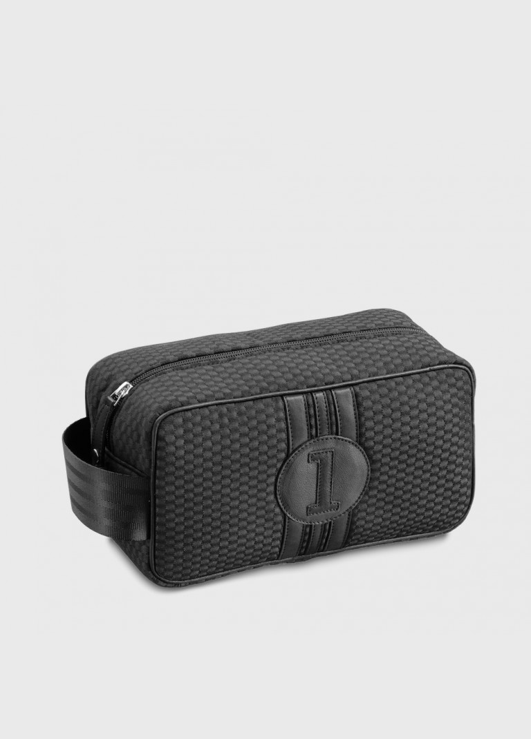 Toiletry bag for man all black canvas and leather