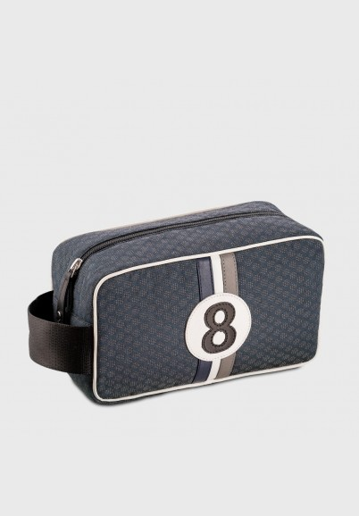 vintage toilet bag in grey and blue fabric Bobby BBG8 for men