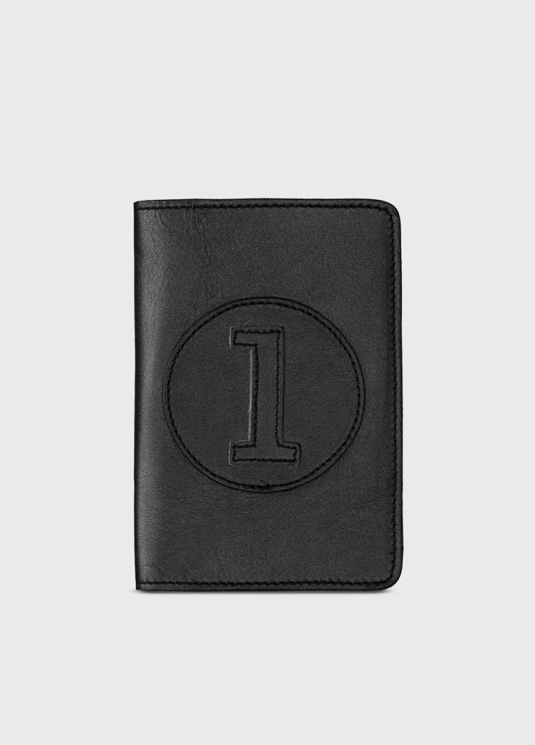 Leather wallet and purse in black leather AllB1 for men or woman