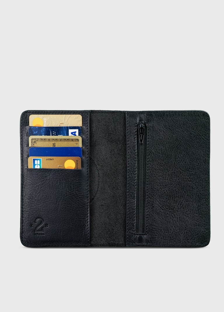 Black leather wallet and purse for man or woman NB1
