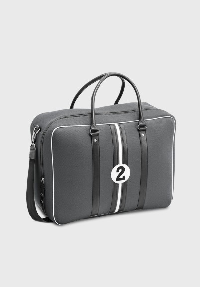 Bagage cabine homme tissu et cuir gris ouverture valise Andrew