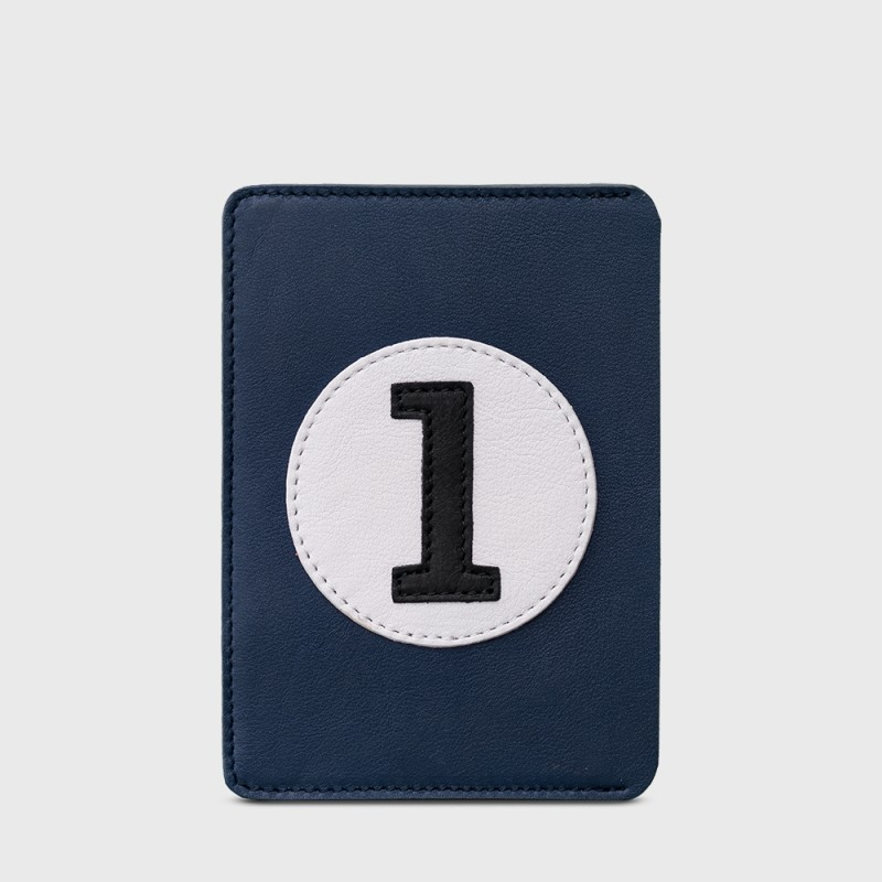 Passport cover in blue leather retro style BBE1