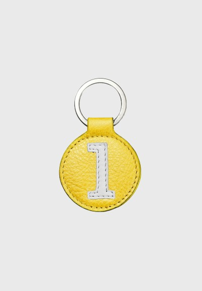 Yellow and white leather key ring for sporty men or women