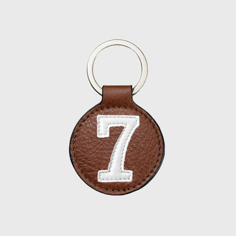 Brown and white leather key ring for sporty men or women