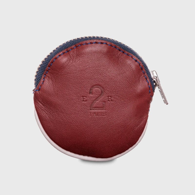 Small leather purse for man burgundy and white