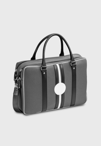 William 15-inch customizable computer bag in grey and black canvas