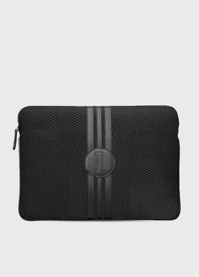 15 inches upcycled laptop case  Multi All black