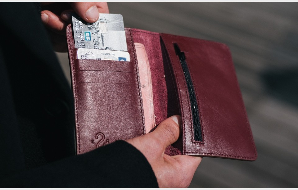 Burgundy leather wallet and purse for man CBR1