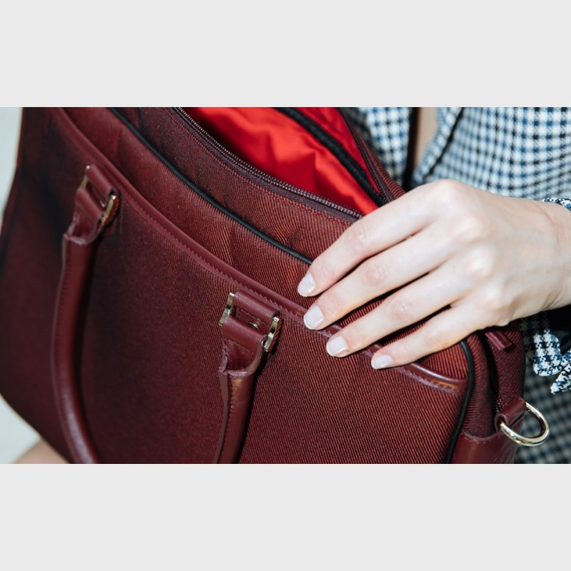 Burgundy computer bag Michele for woman