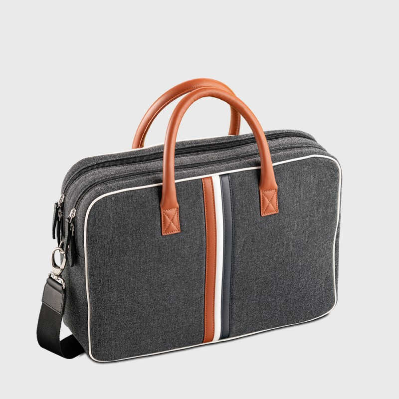Canvas and leather men's desk briefcase Enzo ABB
