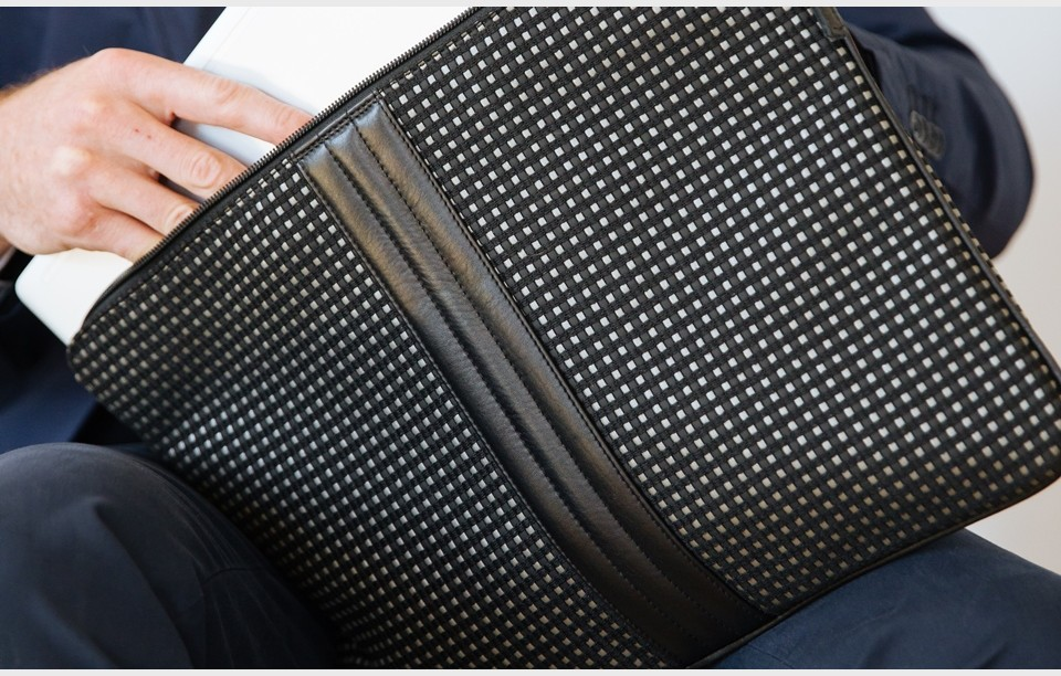 15 inches upcycled laptop case  Multi black
