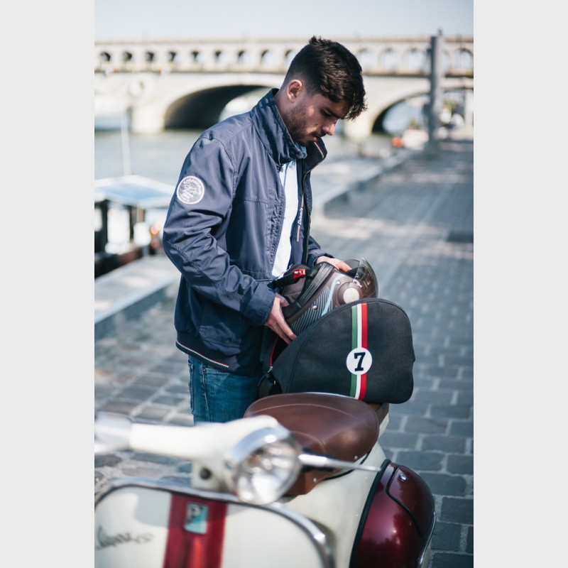 Italian pilote helmet bag in canvas and leather