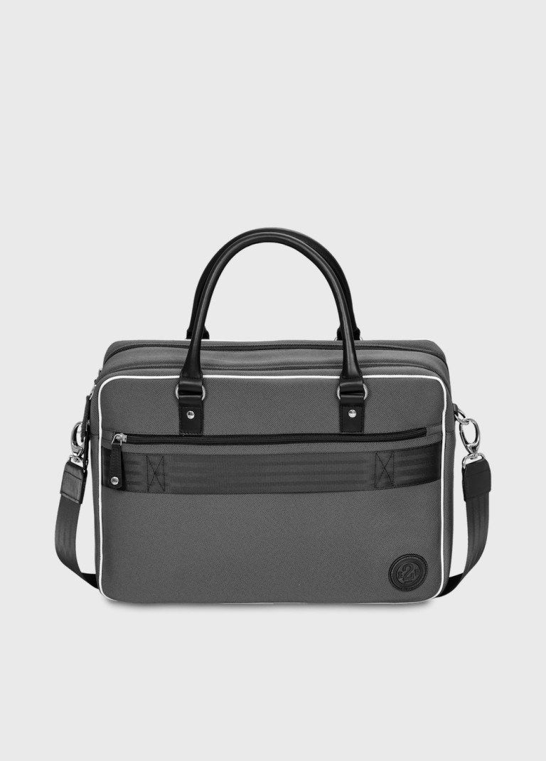 Grey 15 inches laptop bag leather and fabric William