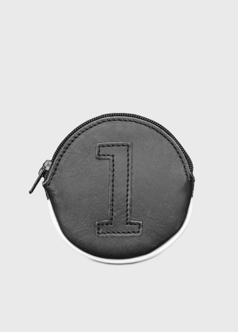 Small black leather purse for man