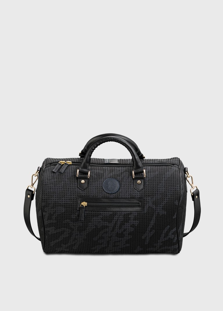 Peter bowling bag in black and blue canvas and leather