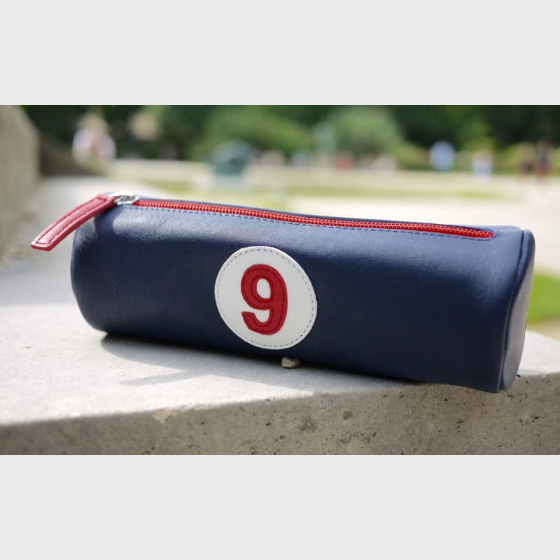 Pencil case in blue leather number 1