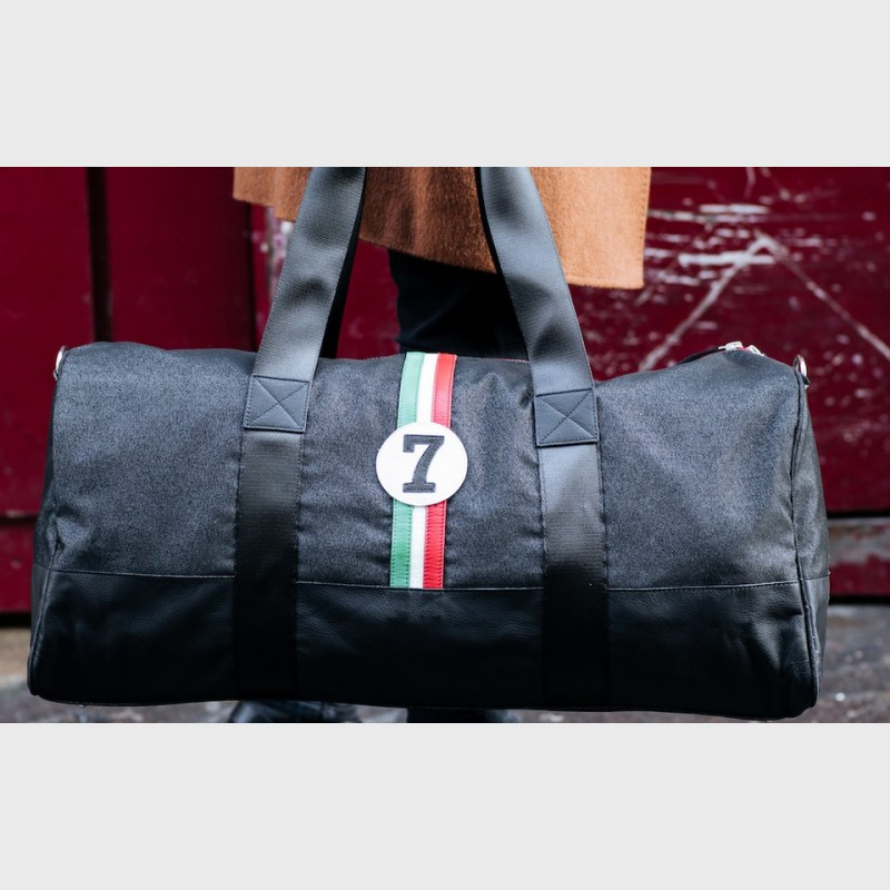 48h traveling bag for man in upcycled fabric Riccardo VBR7