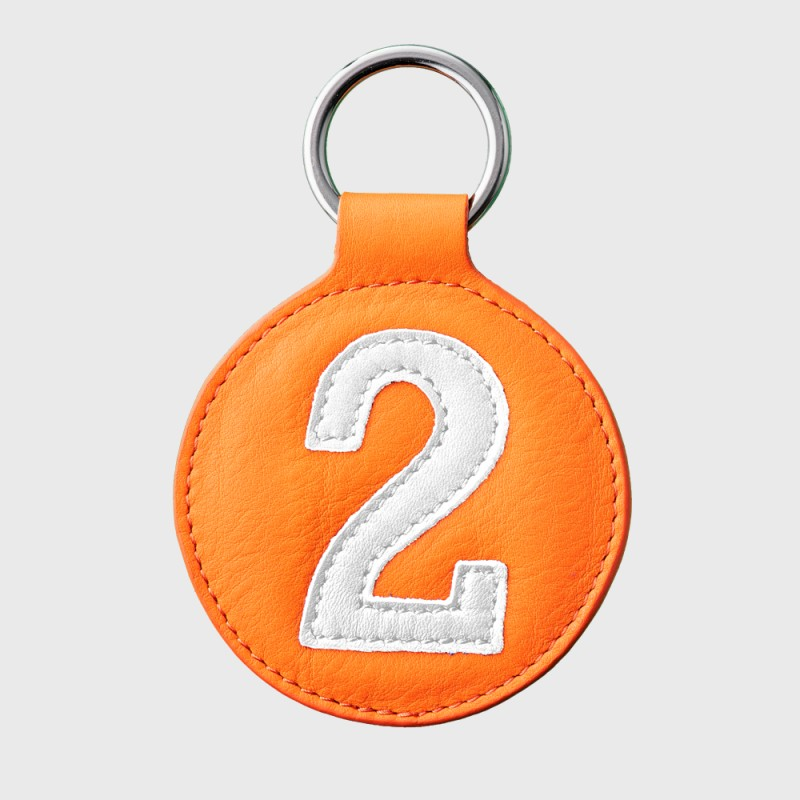 Vintage key ring in mixed orange and blue leather