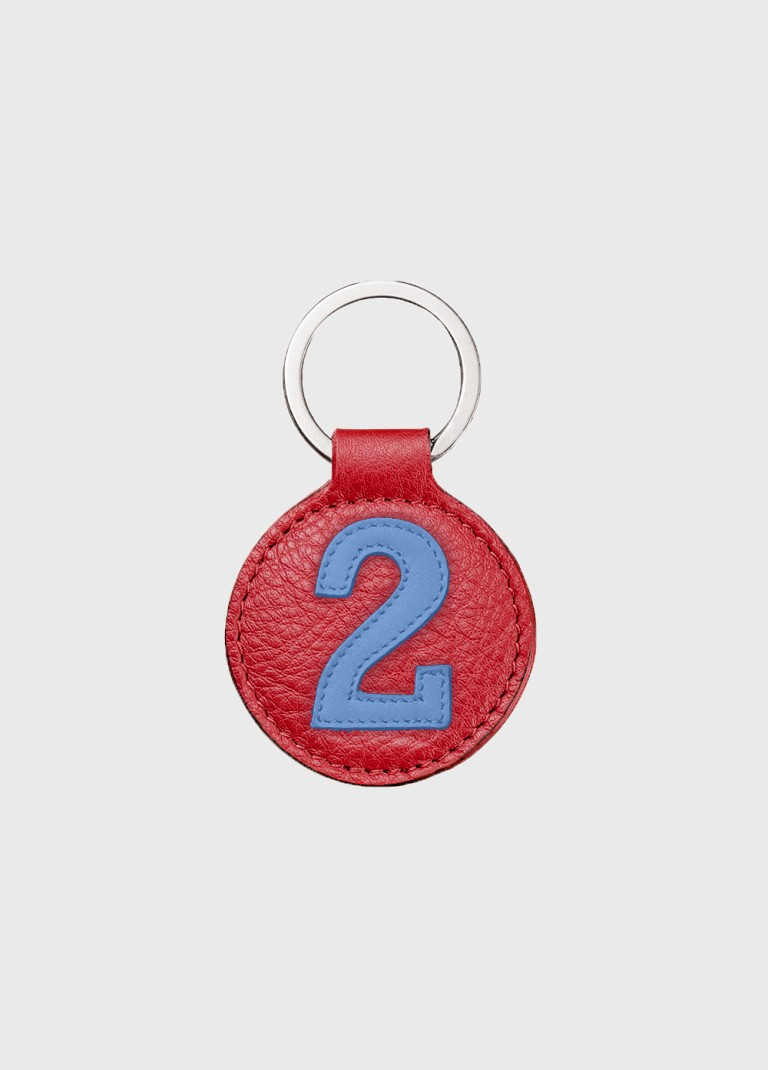 Round key ring with strawberry red and blue leather number