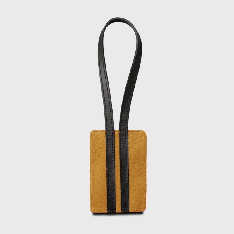 Sustainable leather address tag brown and black