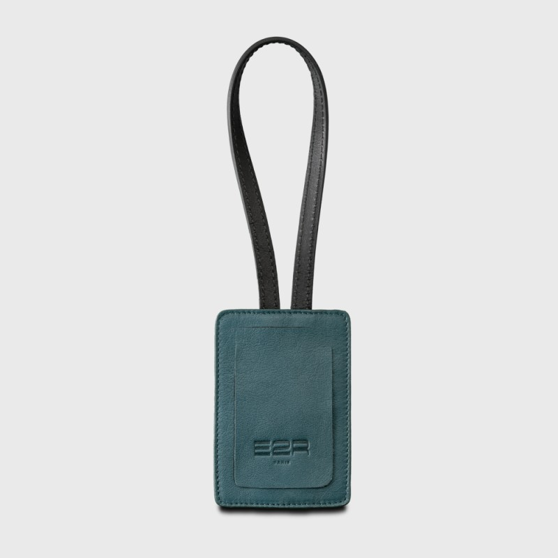 Luggage tag quality leather luxury green and black