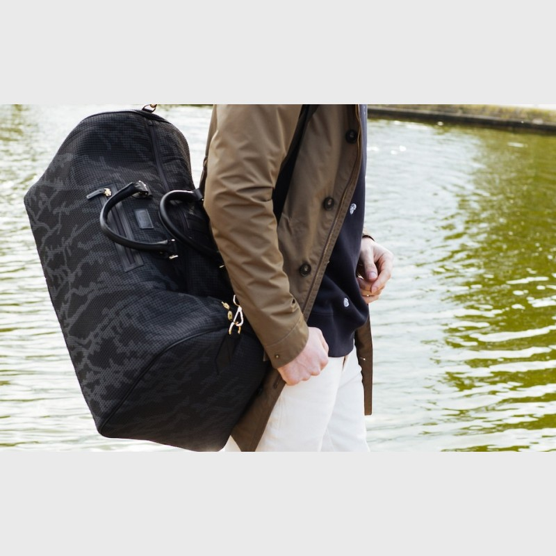 Weekend bag Walter black and blue canvas and leather